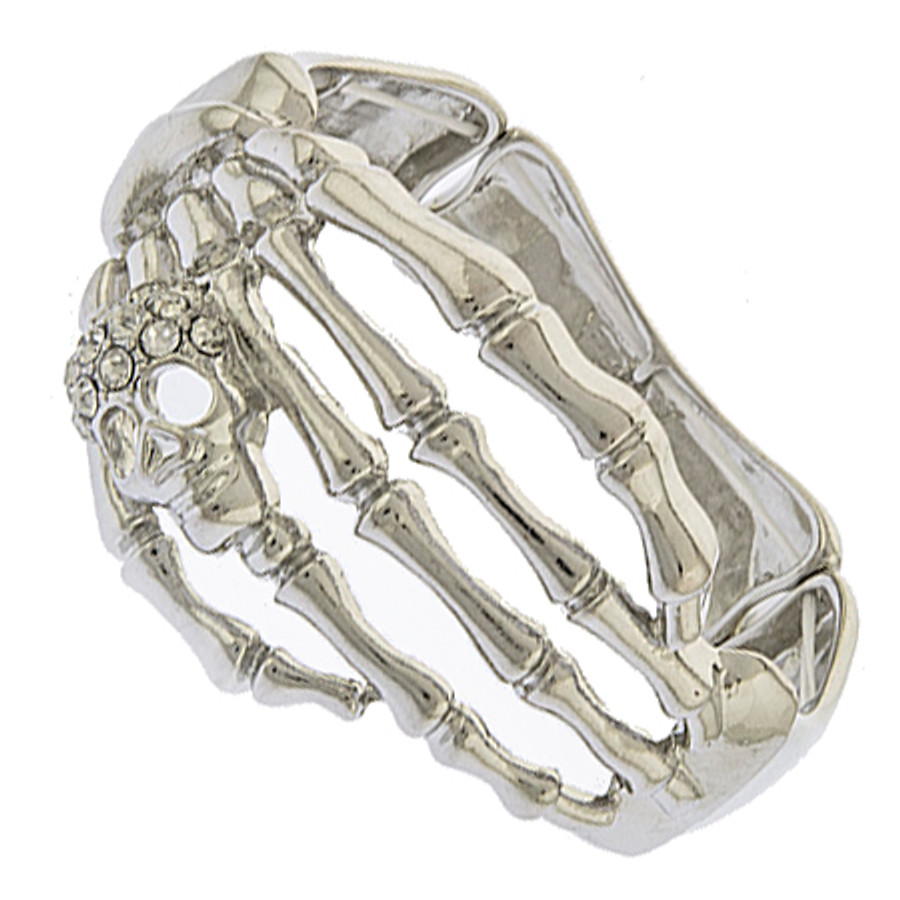 Halloween Costume Jewelry Crystal Rhinestone Skeleton Hand Stretch Bracelet B536