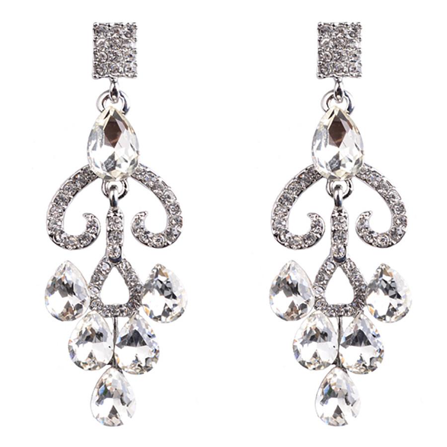 Bridal Wedding Jewelry Prom Crystal Rhinestone Gorgeous Dangle Earrings E1184 SV