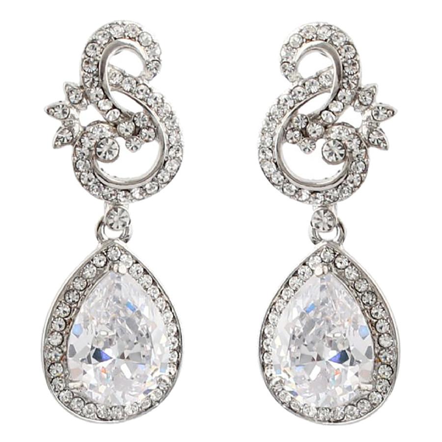 Bridal Wedding Jewelry Crystal Cubic Zirconia CZ Beautiful Dangle Earrings E1185