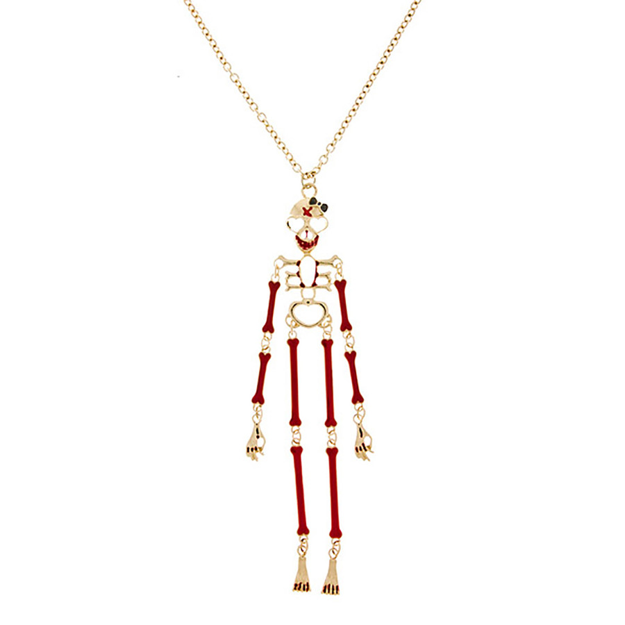 Halloween Costume Jewelry Articulate Skeleton Pendant Necklace N109 Gold Red