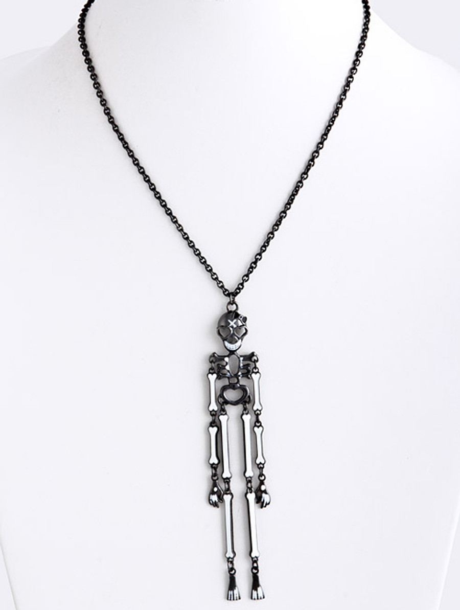 Halloween Costume Jewelry Articulate Skeleton Pendant Necklace N109 Black
