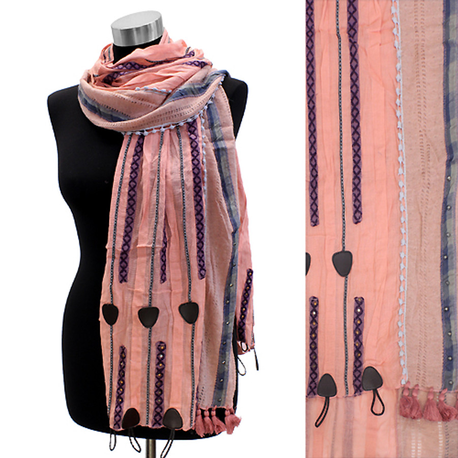 Short Tassel Hand Crafted Fashion Design Scarf Pink