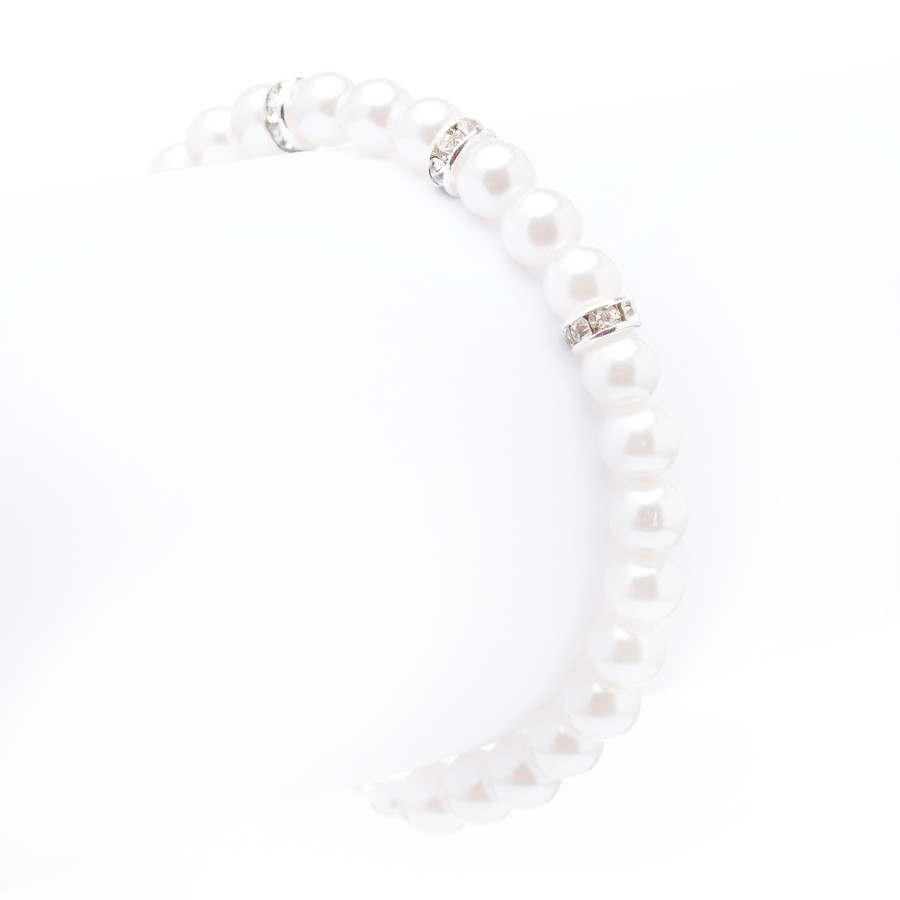 Bridal Wedding Jewelry Crystal Rhinestone Pearl Single Linear Bracelet Silver