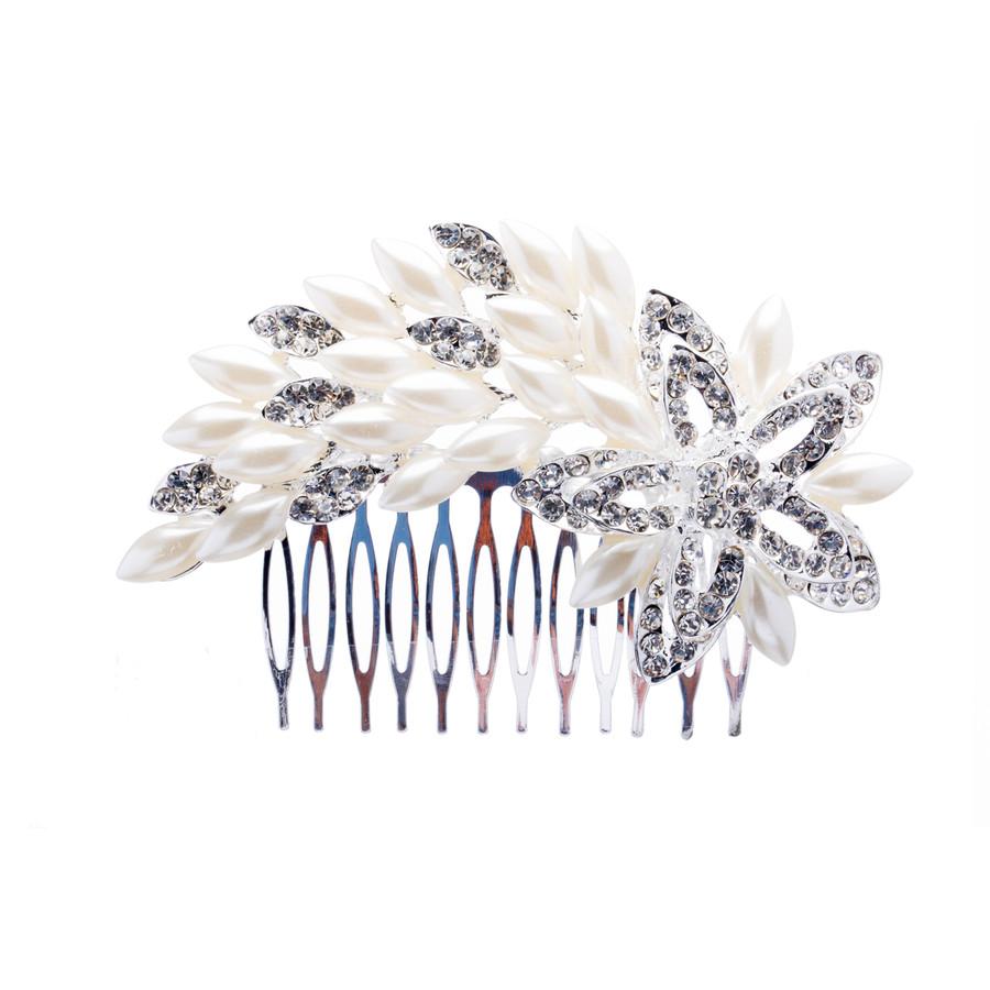 Bridal Wedding Jewelry Crystal Rhinestone Luxurious Pearl Floral Hair Comb Pin