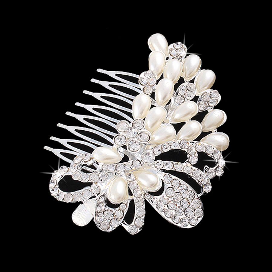 Bridal Wedding Jewelry Crystal Rhinestone Elegant Teardrop Pearl Hair Comb Pin
