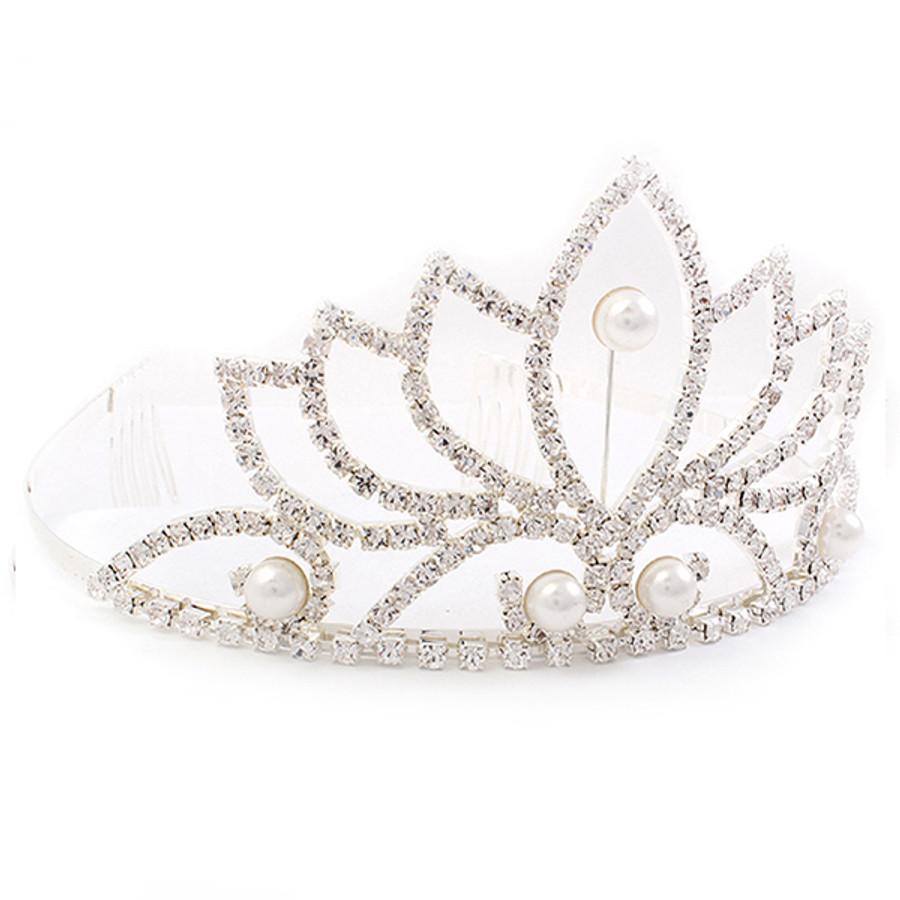 Bridal Wedding Jewelry Crystal Rhinestone Pearl Beautiful Classic Hair Tiara