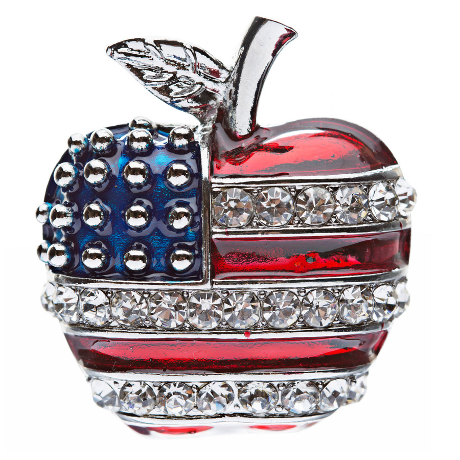 Patriotic American Flag Gorgeous Crystal Rhinestone 3D Apple Brooch Pin Silver