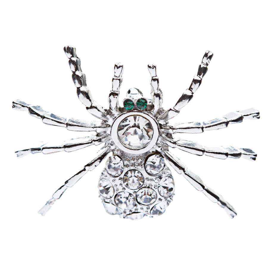 Halloween Costume Jewelry Spider Crystal Charm Fashion Brooch Pin Silver Clear