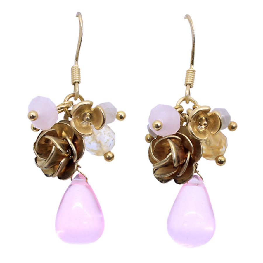 Floral Charm Tear Drop Dangle Handmade Earring Pink
