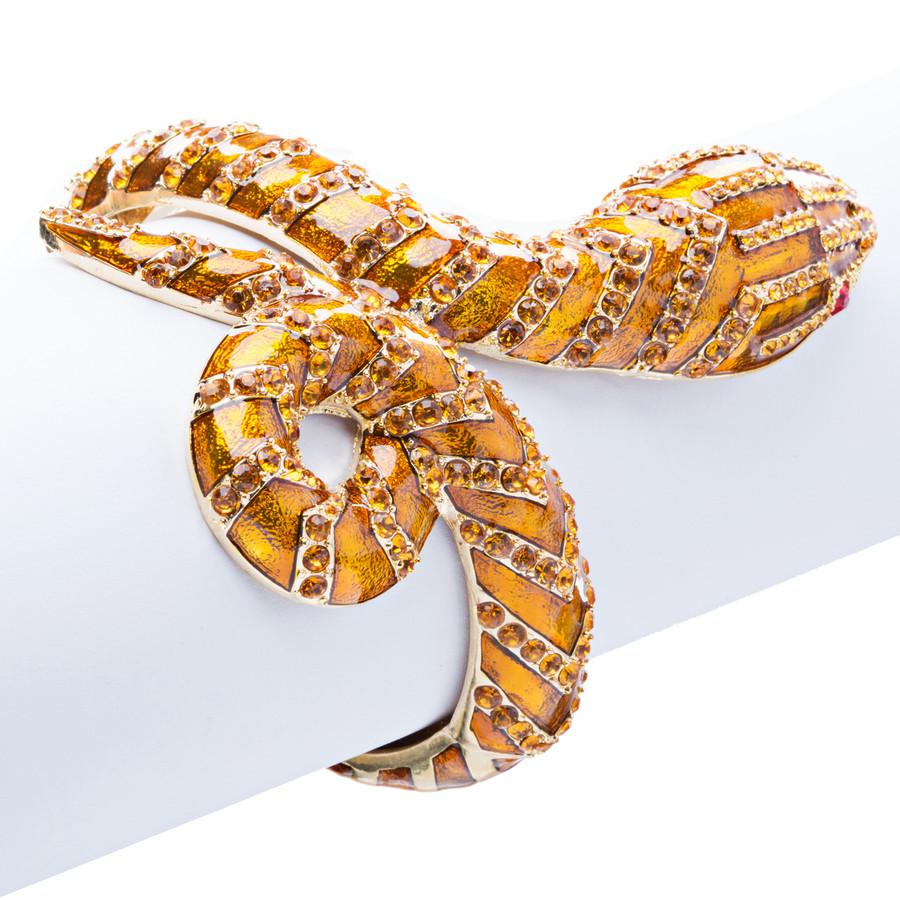Snake Crystal Rhinestone Animal Hinge Stunning Fashion Bracelet Gold Brown