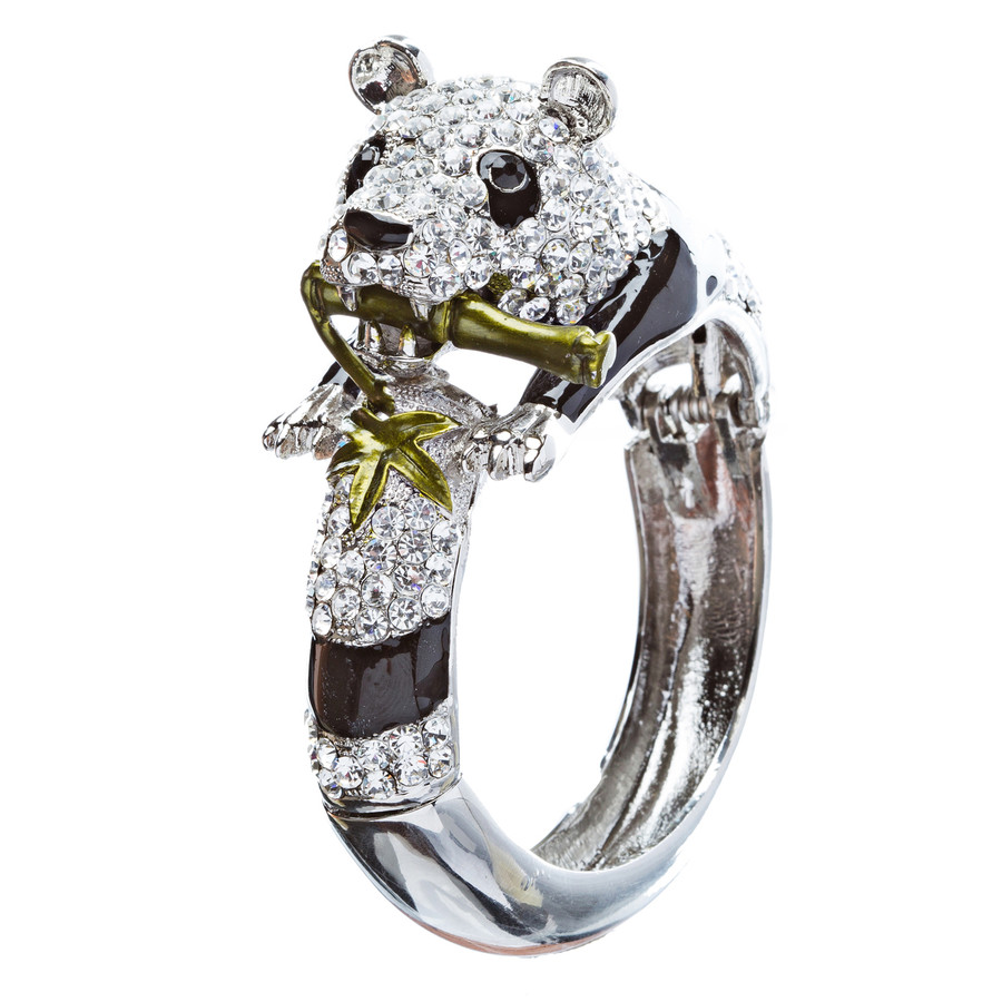 Panda Bamboo Crystal Rhinestone Animal Hinge Stunning Fashion Bracelet Silver