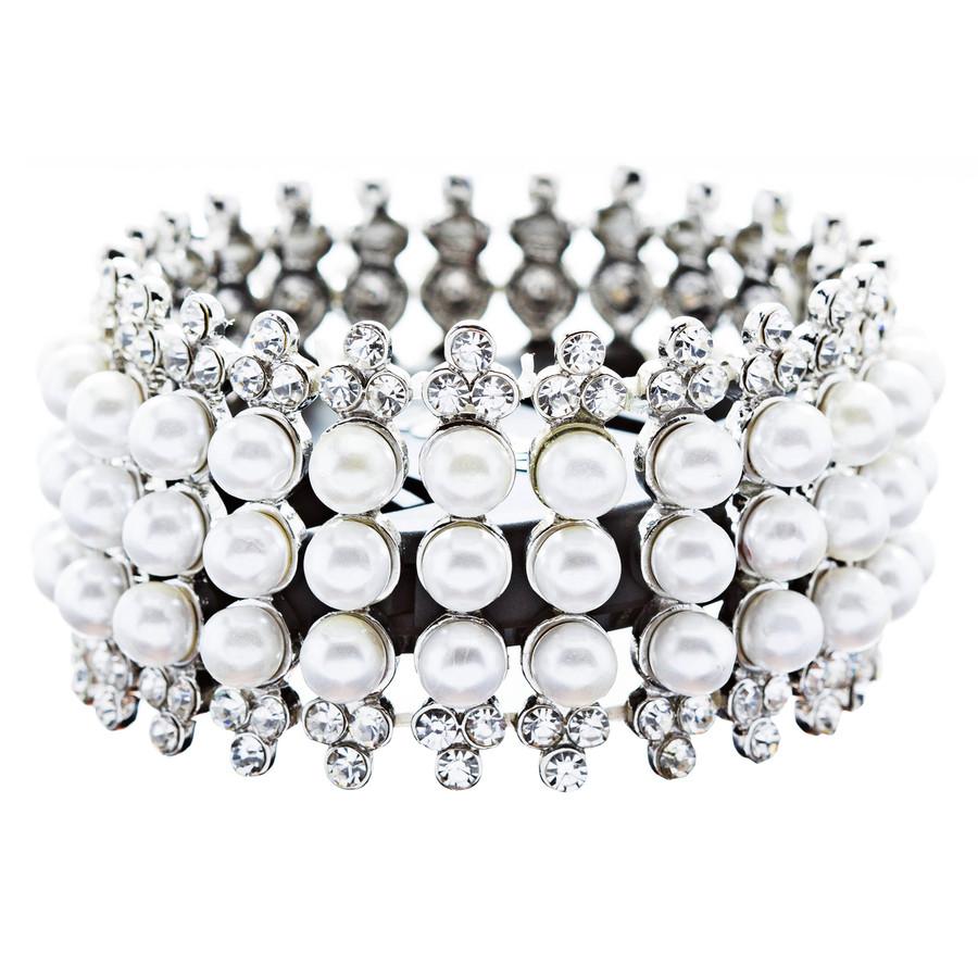 Bridal Wedding Jewelry Stunning 3 Rows Pearl Crystal Stretch Fashion Bracelet