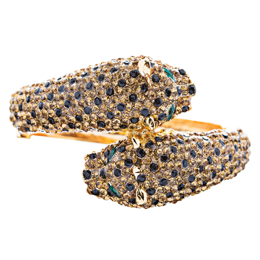 Fashion Jewelry Crystal Rhinestone Magnificent Leopard Bracelet Gold