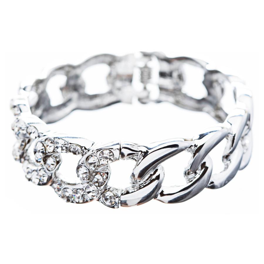 Bridal Wedding Jewelry Crystal Rhinestone Classic Oval Linked Stretch Bracelet