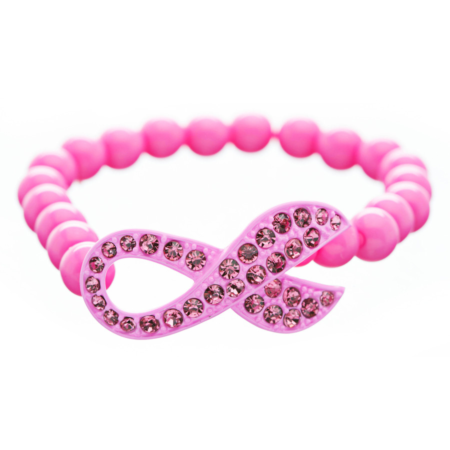 Pink Ribbon Breast Cancer Awareness Jewelry Crystal Lucite Bead Stretch Bracelet