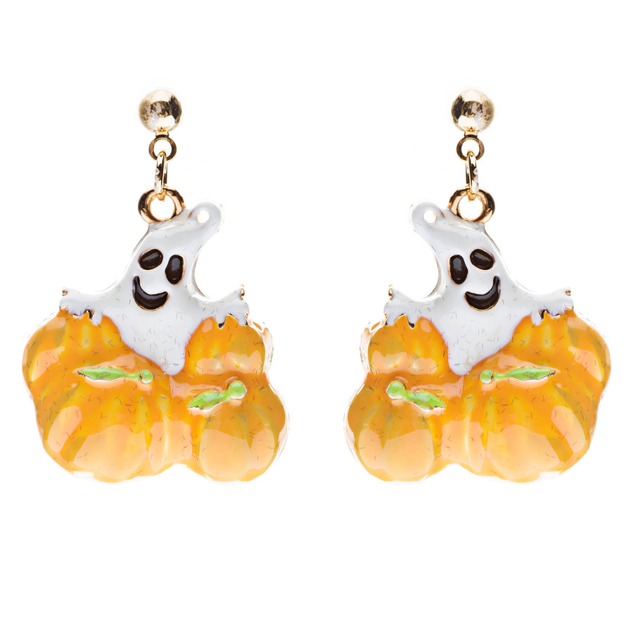 Halloween Costume Jewelry Ghost Pumpkins Dangle Fashion Earrings Gold Orange