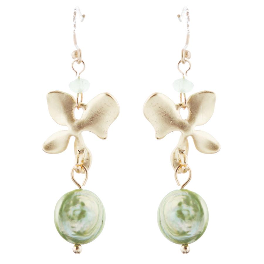 Freshwater Pearl Floral Dangle Drop Earrings Gold Green
