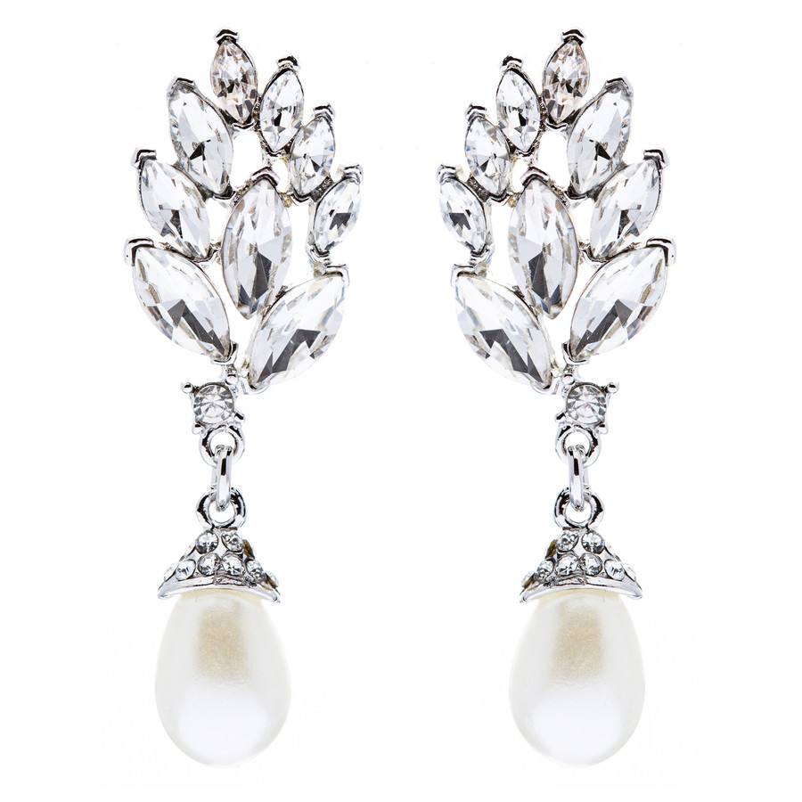 Bridal Wedding Jewelry Crystal Pearl Chic Modern Teardrop Dangle Earrings Silver