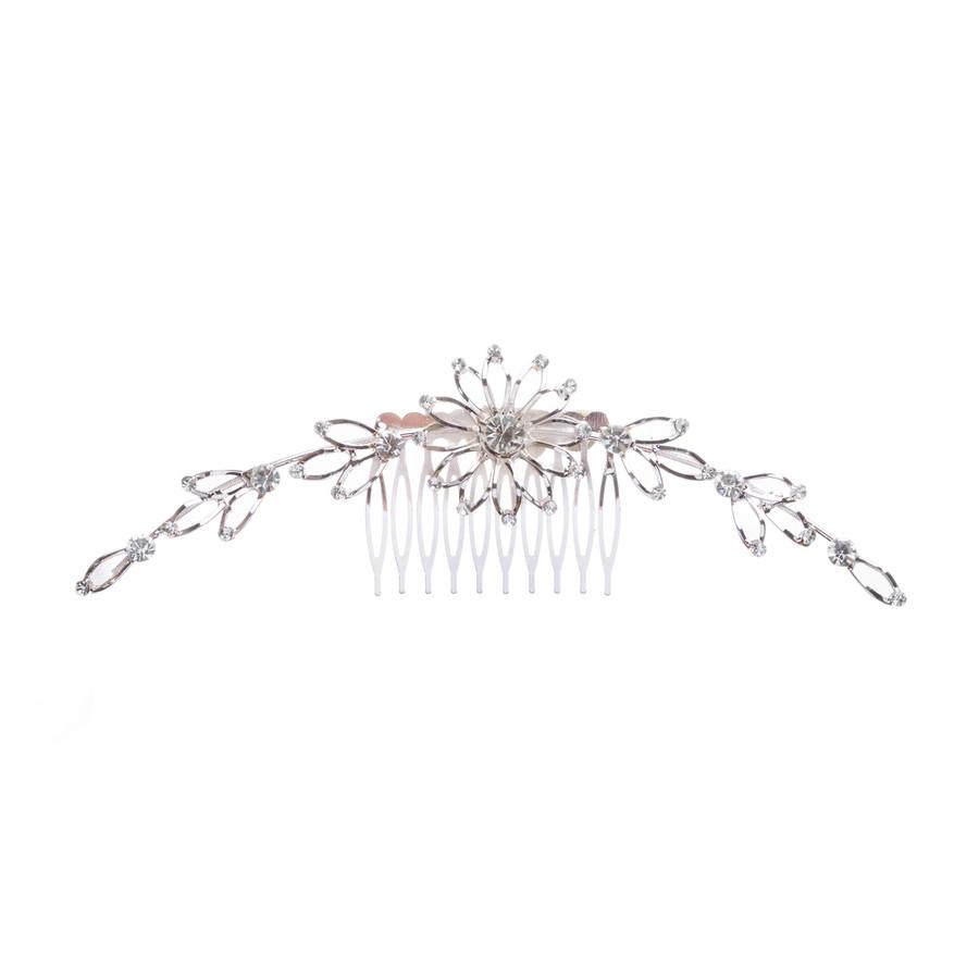 Bridal Wedding Jewelry Crystal Rhinestone Mesh Linear Floral Drape Hair Comb Pin