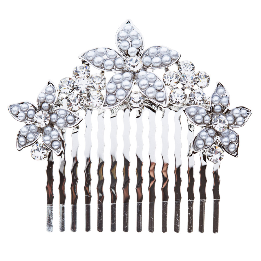 Bridal Wedding Jewelry Crystal Rhinestone Pearl Multi Flowers Hair Comb Silver