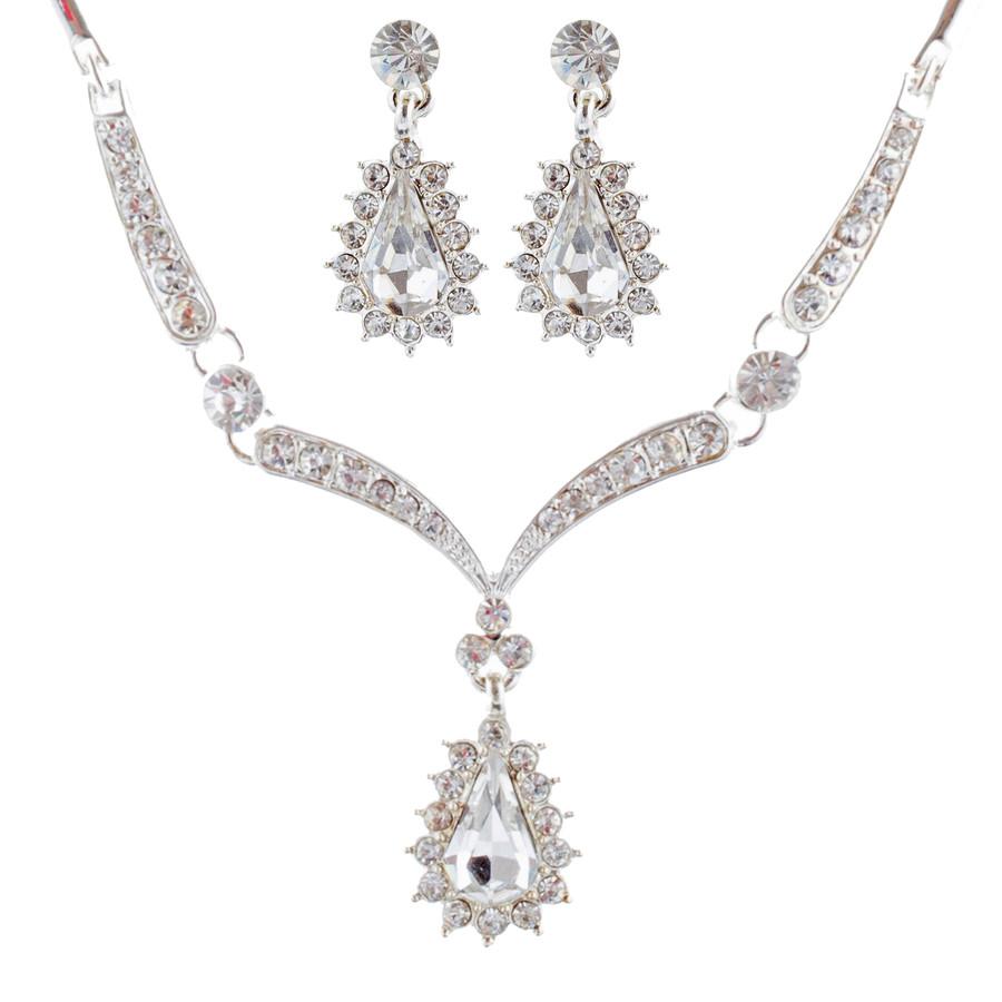 Bridal Wedding Jewelry Set Crystal Rhinestone Link Chain Teardrop Necklace SV