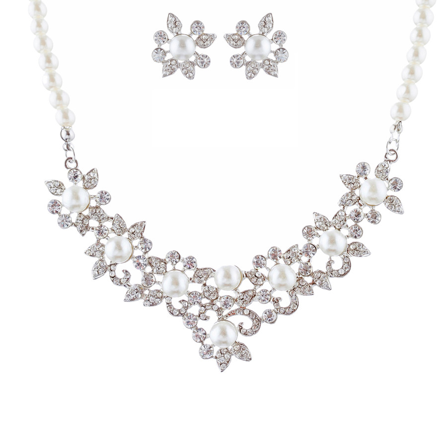 Bridal Wedding Jewelry Set Crystal Rhinestone Pearl Exquisite Floral Necklace J6