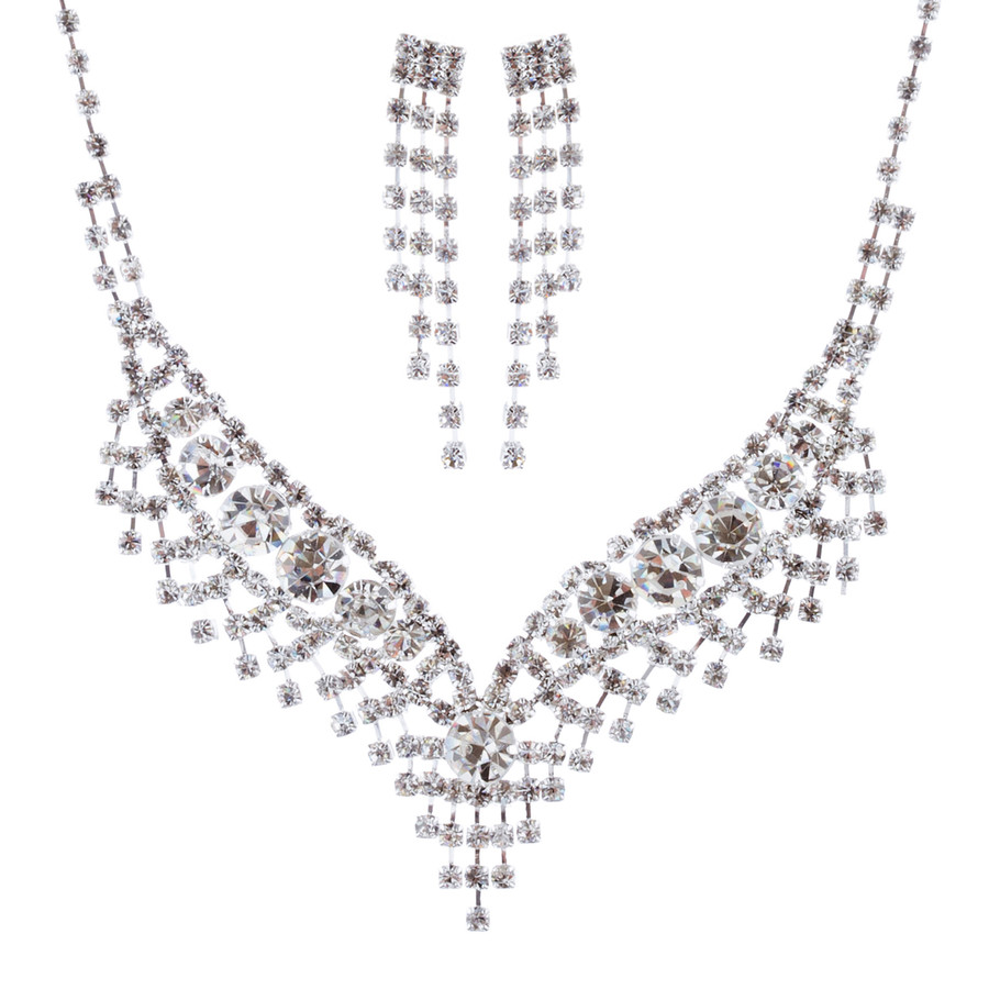 Bridal Wedding Jewelry Set Crystal Rhinestone Chic Sparkle Bib V Drop Necklace