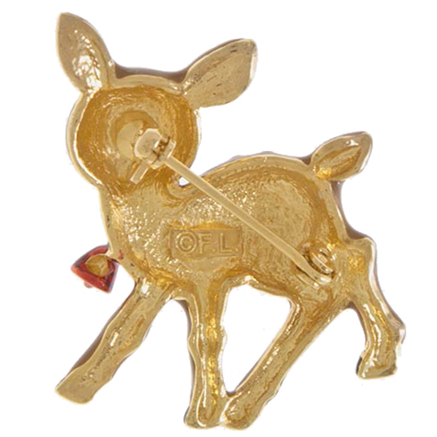 Christmas Jewelry Holiday Adorable Reindeer Charm Fashion Brooch BH216 Brown