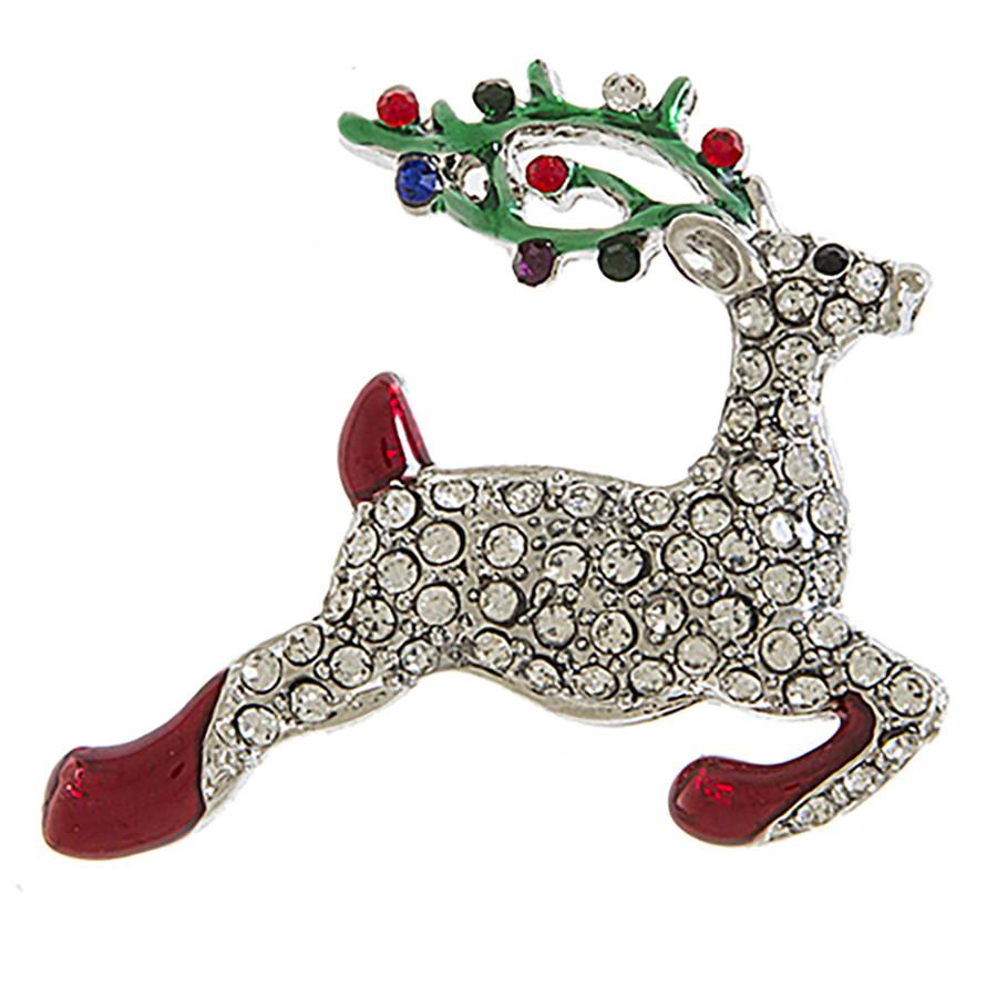 Christmas Jewelry Holiday Dazzling Crystal Rhinestone Reindeer Brooch BH217 SV