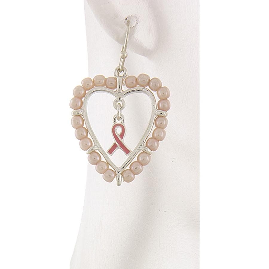 Pink Ribbon Jewelry Pearl Heart Breast Cancer Awareness Dangle Earrings E1187
