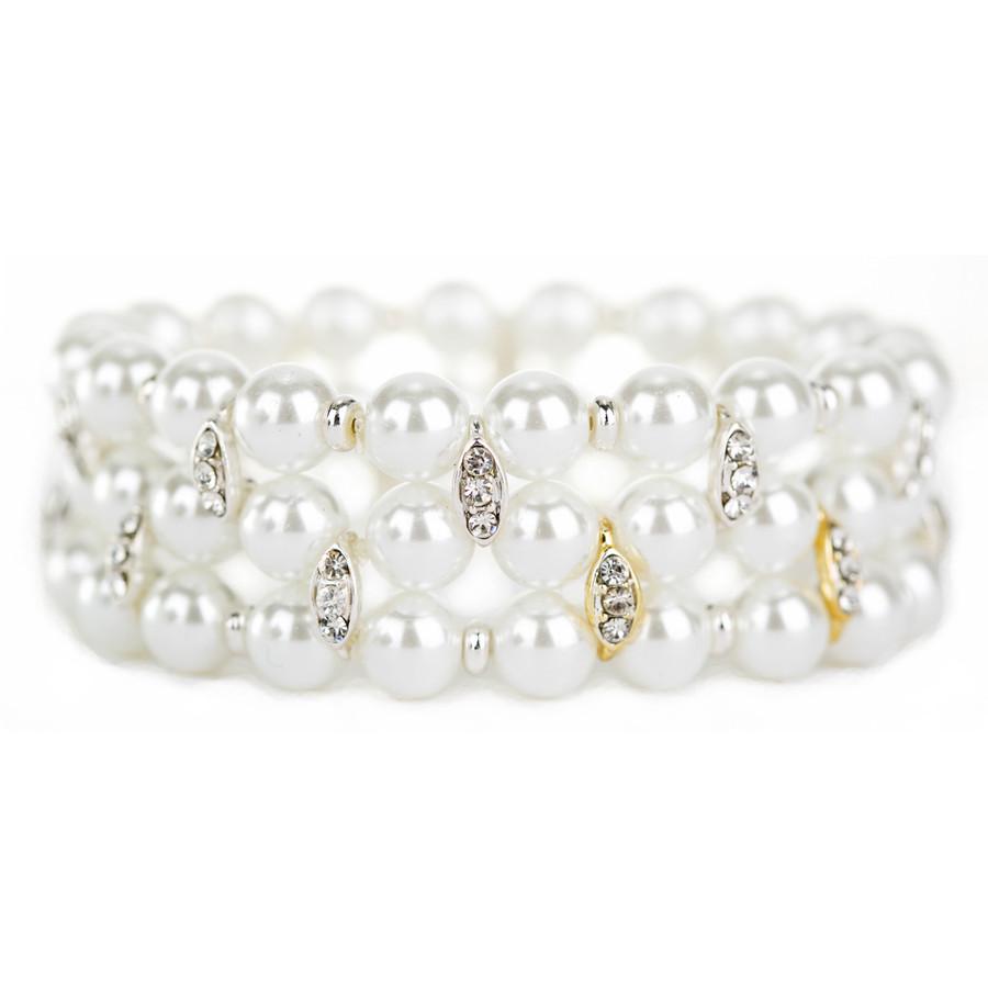 Bridal Wedding Prom Jewelry Crystal Pearl Elegant Stretch Bracelet B538 SVGD