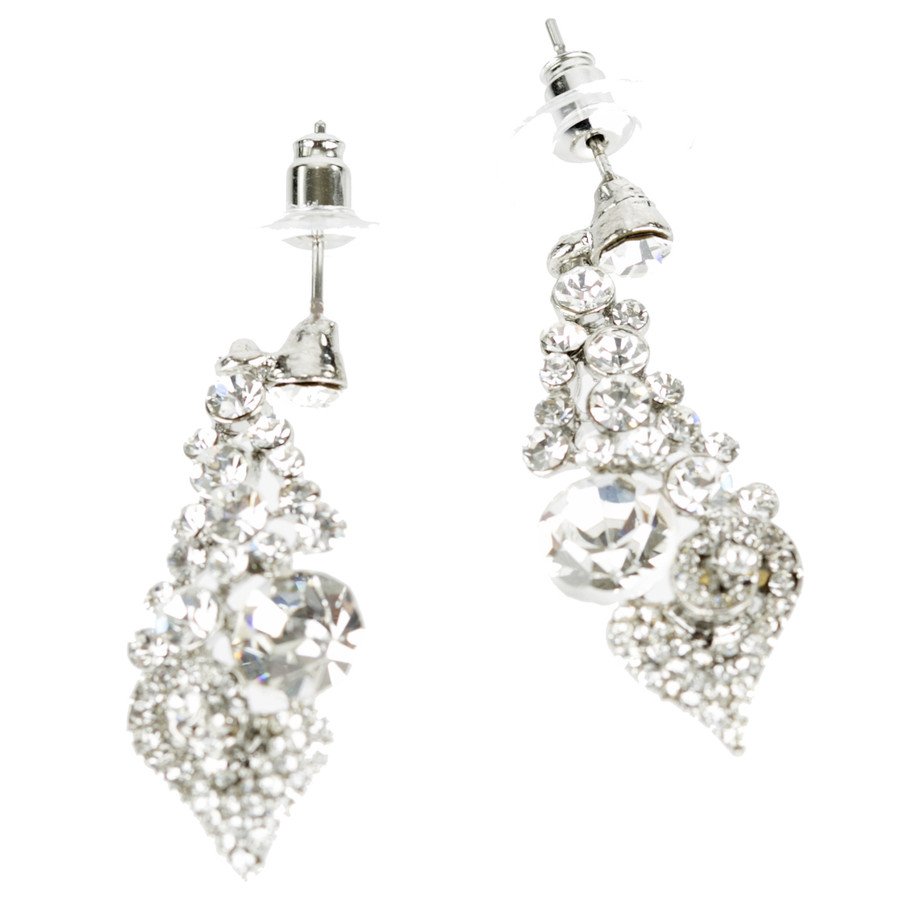 Bridal Wedding Prom Jewelry Chic Sparkling Crystal Rhinestone Earrings E1192 SV
