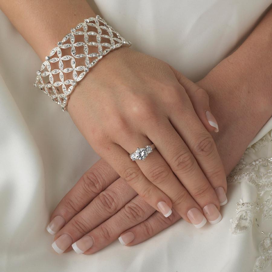 Bridal Wedding Prom Jewelry Crystal Rhinestone Stunning Stretch Bracelet B384 SV