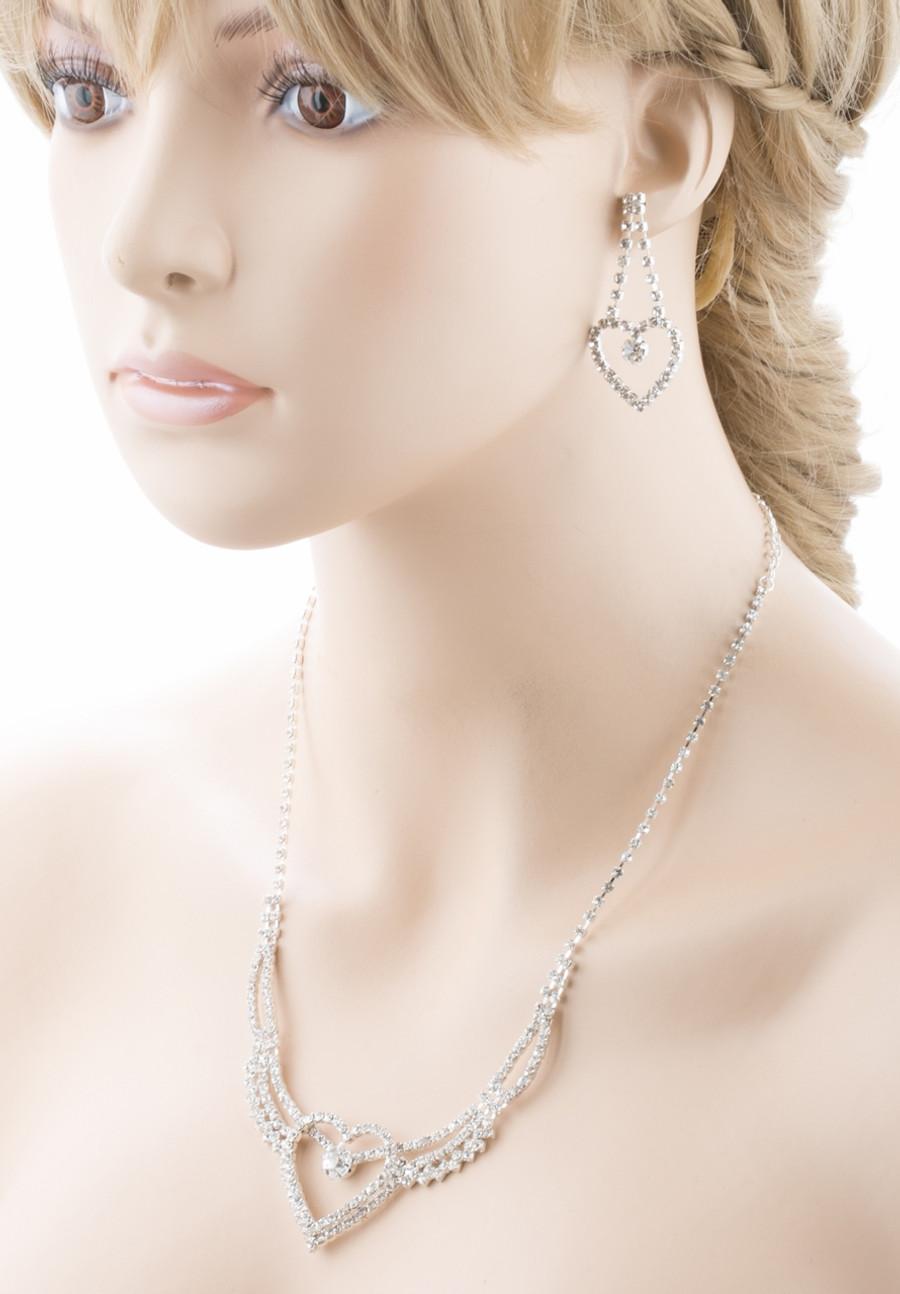 Bridal Wedding Jewelry Prom Heart Crystal Rhinestone Necklace Set J458 SV
