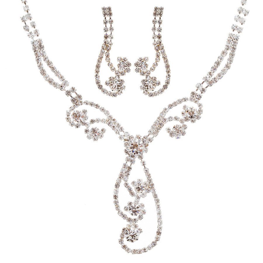 Bridal Wedding Jewelry Set Prom Crystal Rhinestone Elegant Necklace J462 SV