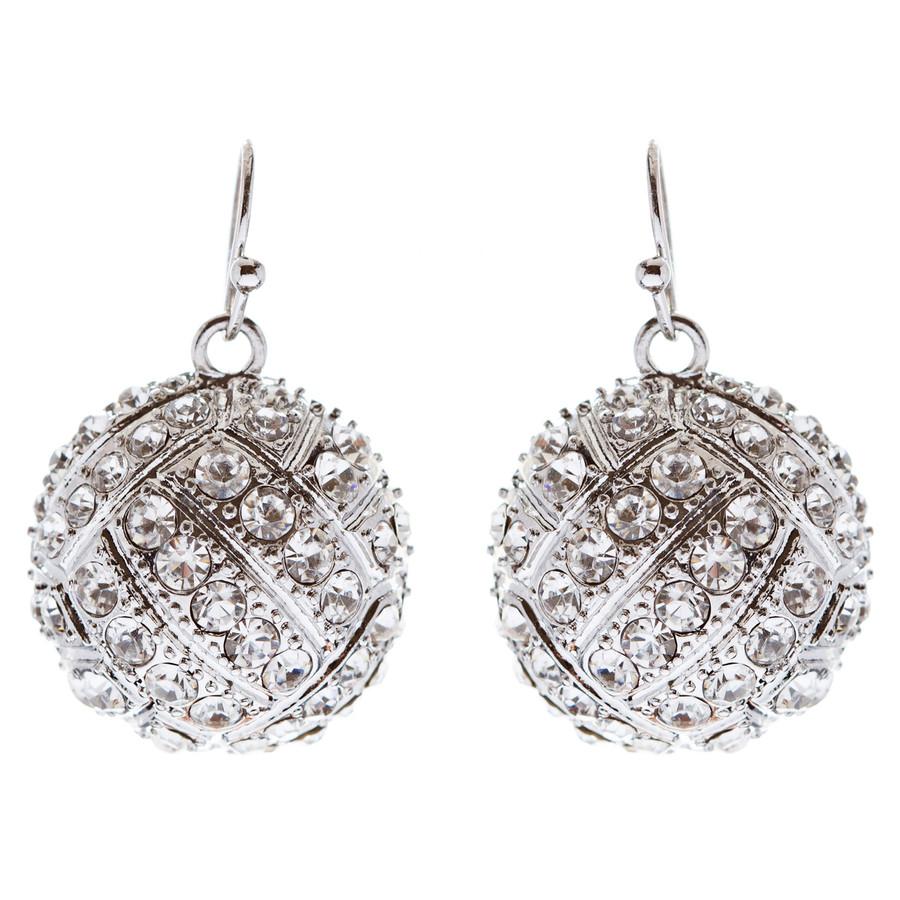 Sport Volleyball Crystal Rhinestone 20mm Drop Dangle Fashion Earrings Silver