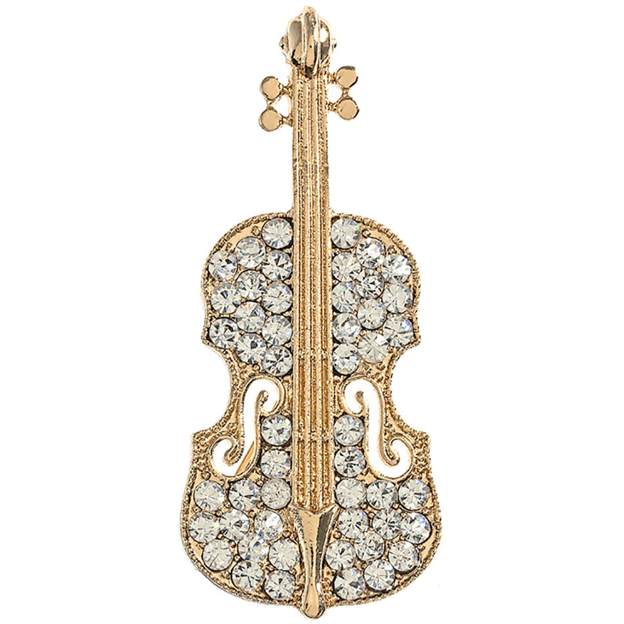 Gorgeous Sparkle Classic Music Cello Violin Charm Brooch Pin BH223 Gold