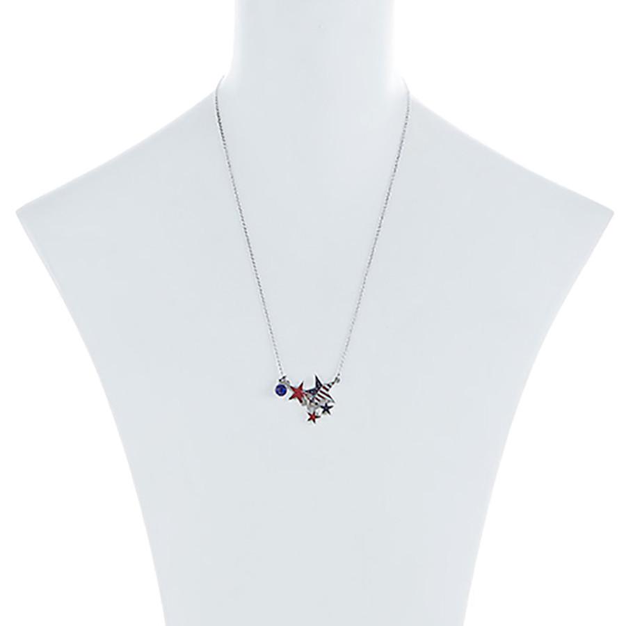 Patriotic Jewelry Crystal Rhinestone Stars Charm Fashion Necklace N111 Silver