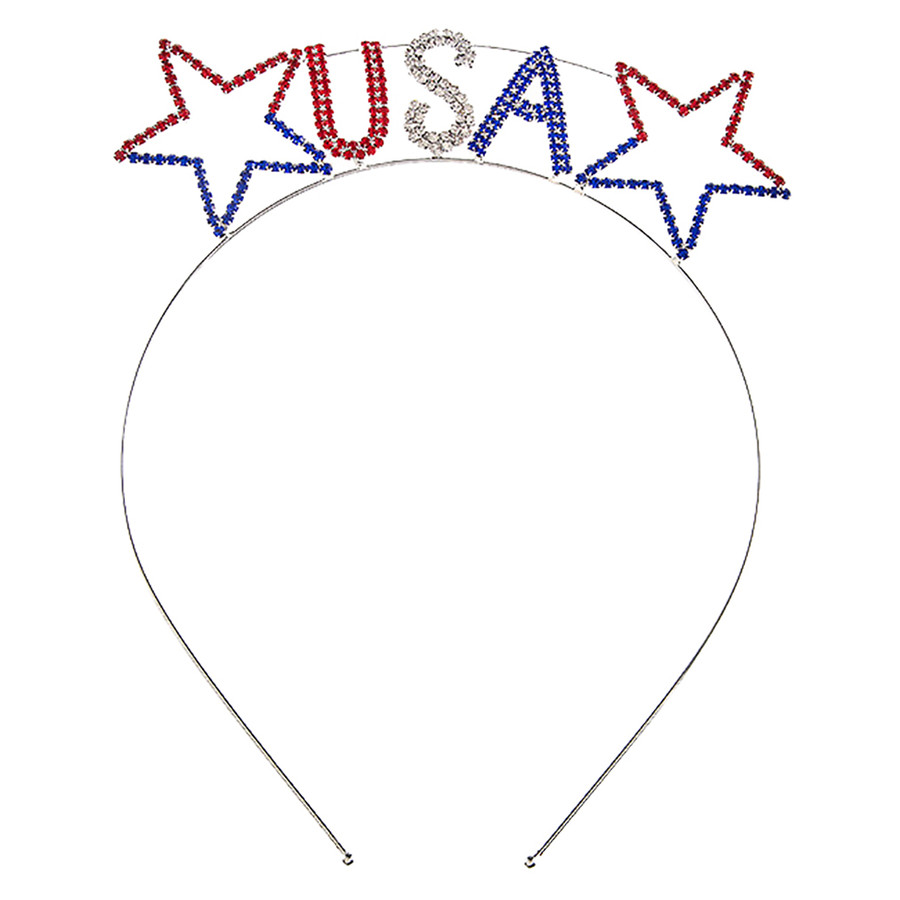 Patriotic Jewelry American Flag Crystal Rhinestone Star USA Headband HA485 SV