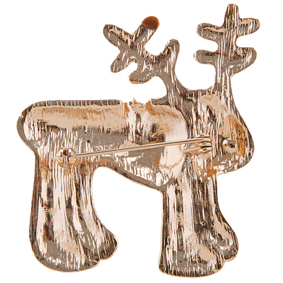 Christmas Jewelry Crystal Rhinestone Adorable Reindeer Brooch Pin BH229 Brown