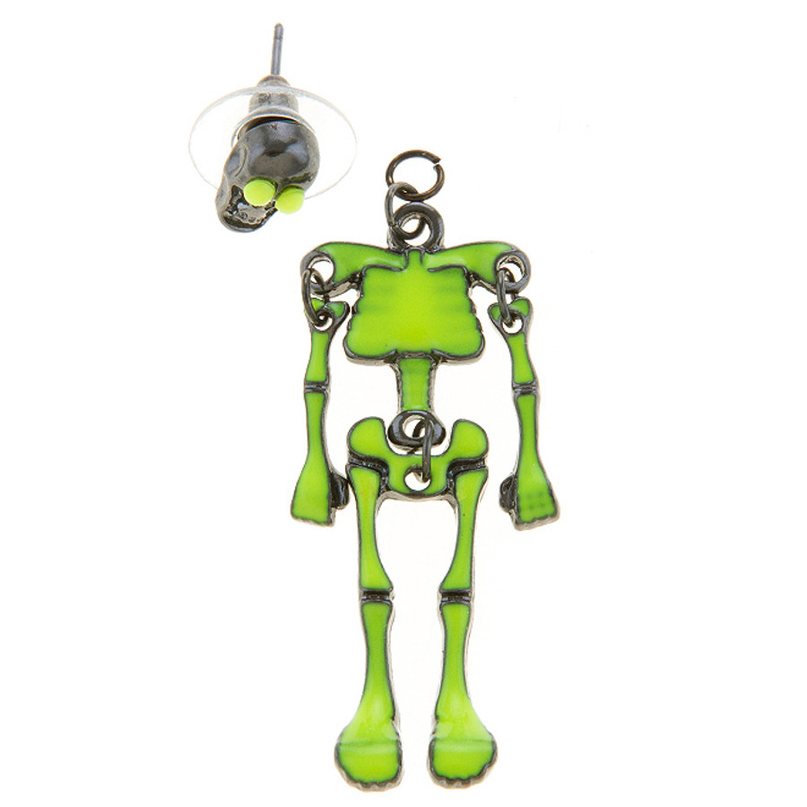 Halloween Costume Jewelry Unique Fun Skeleton Dangle Earrings Lime Green E1220