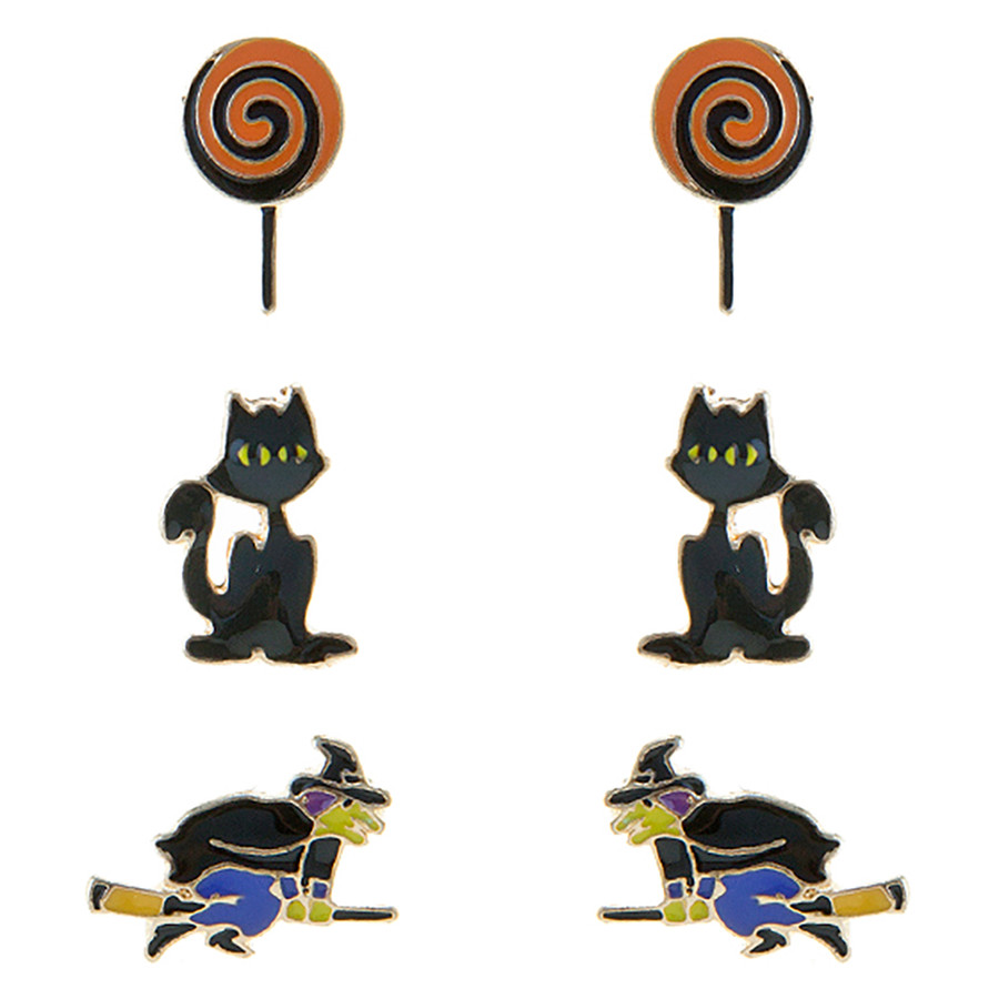 Halloween Costume Jewelry Lollipop Cat Witch 3 Sets Mini Earrings E1221