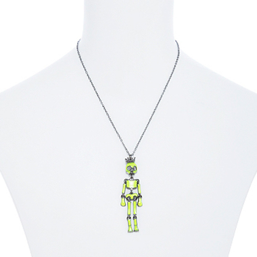 Halloween Costume Jewelry Articulated Skeleton Neon Lime Green N112