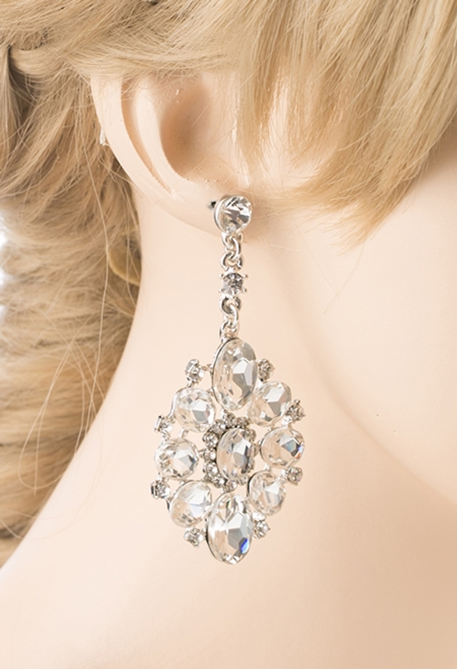 Bridal Wedding Jewelry Crystal Rhinestone Dangle Drop Earrings E611SV