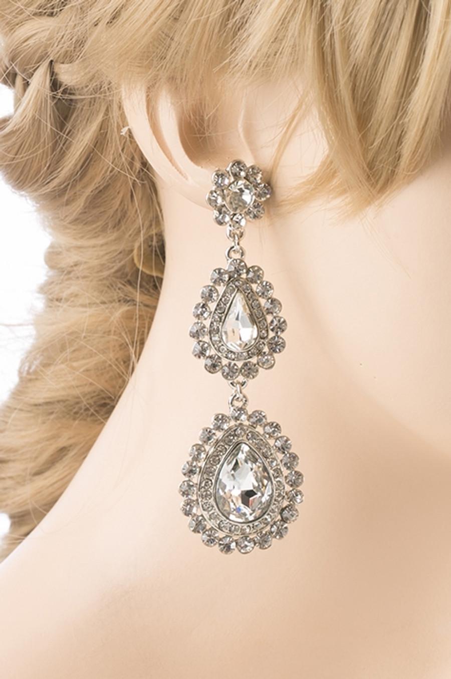 Bridal Wedding Prom Jewelry Crystal Rhinestone Gorgeous Teardrop Earrings E704