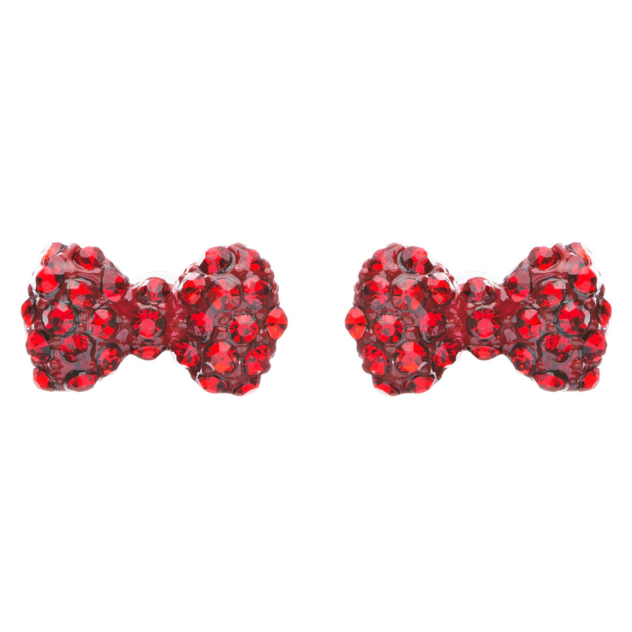 Adorable Mini Bow Tie Ribbon Sweet Fashion Stud Style Earrings E872 Red