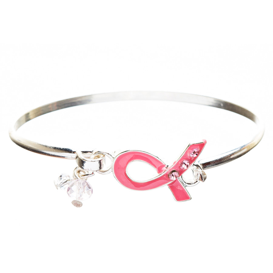 Pink Ribbon Jewelry Breast Cancer Awareness Charming Ribbon Bangle B405 Pink
