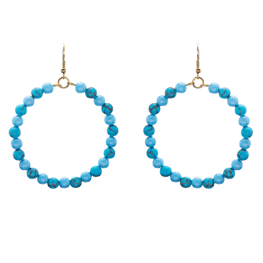 Woman Fashion Linear Drop Earrings Turquoise Stone Blue