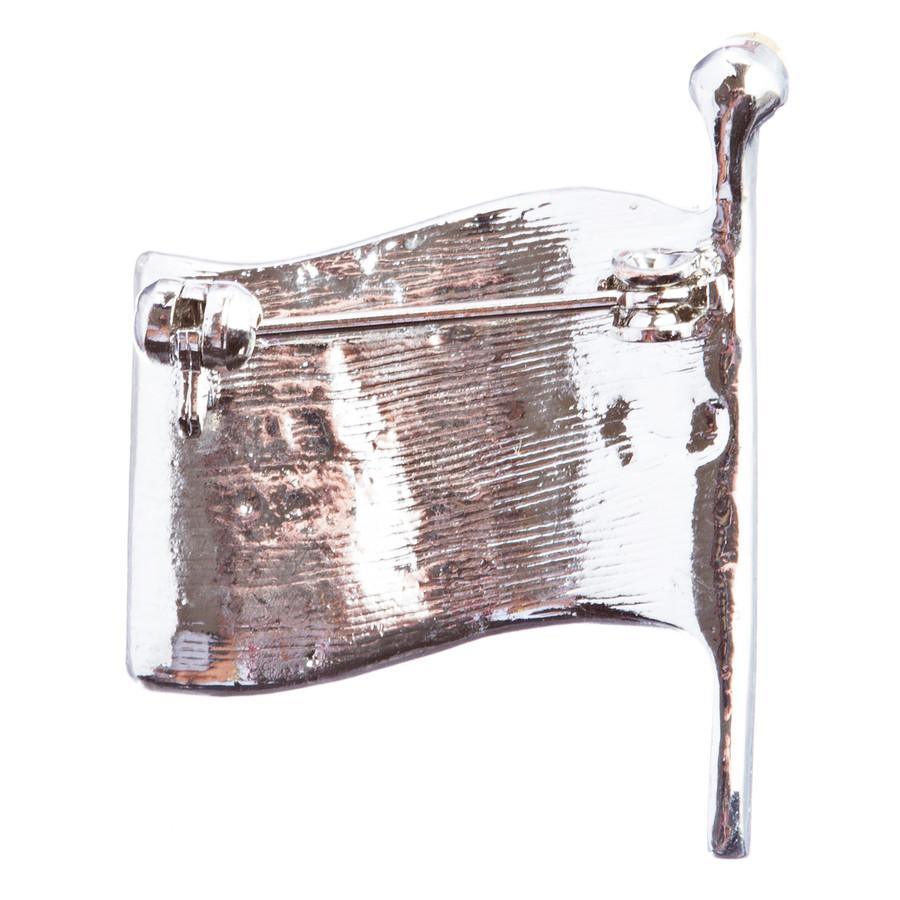 Patriotic Jewelry American Flag Crystal Rhinestone Brooch Pin BH53 Silver