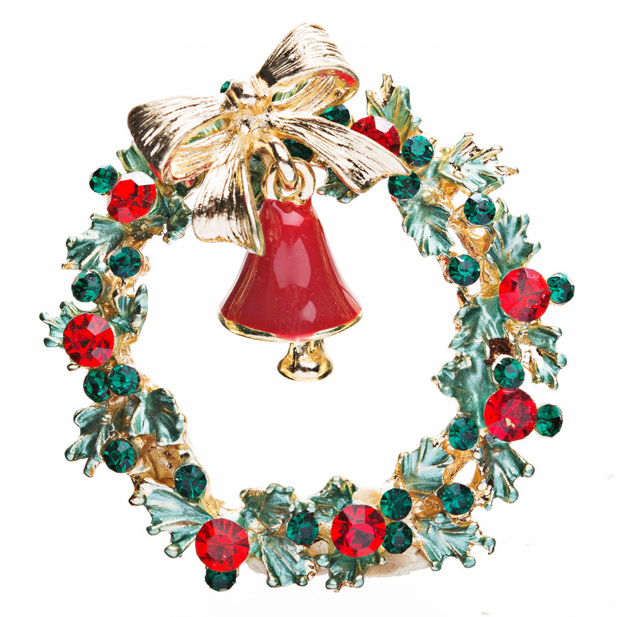 Christmas Jewelry Crystal Rhinestone Gorgeous Wreath Charm Brooch Pin BH61